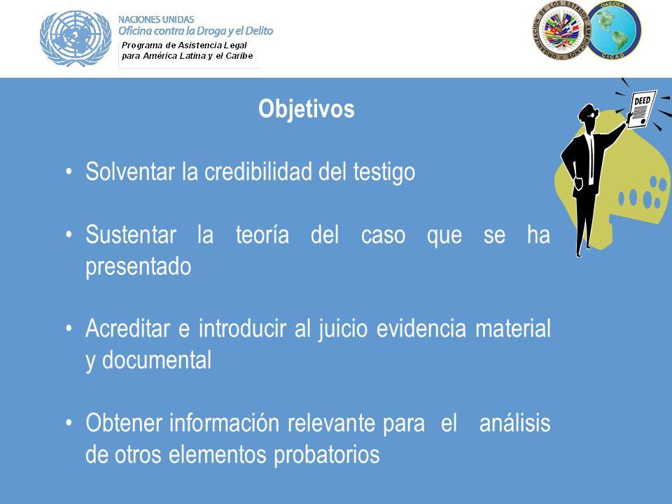 Objetivos Solventar la credibilidad del testigo Sustentar la teoría del caso que se ha presentado Acreditar e introducir al juicio evidencia material