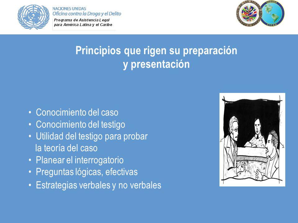 Principios que rigen su preparación y presentación Conocimiento del caso Conocimiento del testigo Utilidad del testigo para probar la teoría del caso