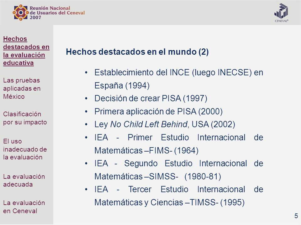Hechos destacados en la evaluación educativa Las pruebas aplicadas en México Clasificación por su impacto El uso inadecuado de la evaluación La evaluación adecuada La evaluación en Ceneval Mesas de trabajo