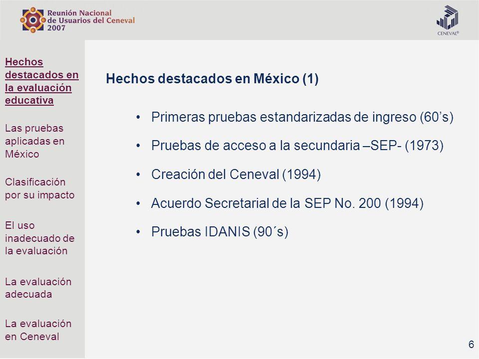 7 Hechos destacados en México (2) Pruebas de Estándares Nacionales 1998 México decide participar en TIMSS (1995) Nota: el primer estudio es de 1964 México retira los resultados nacionales del TIMSS (1996) México participa en PISA (2000) Creación del INEE (2002) Hechos destacados en la evaluación educativa Las pruebas aplicadas en México Clasificación por su impacto El uso inadecuado de la evaluación La evaluación adecuada La evaluación en Ceneval