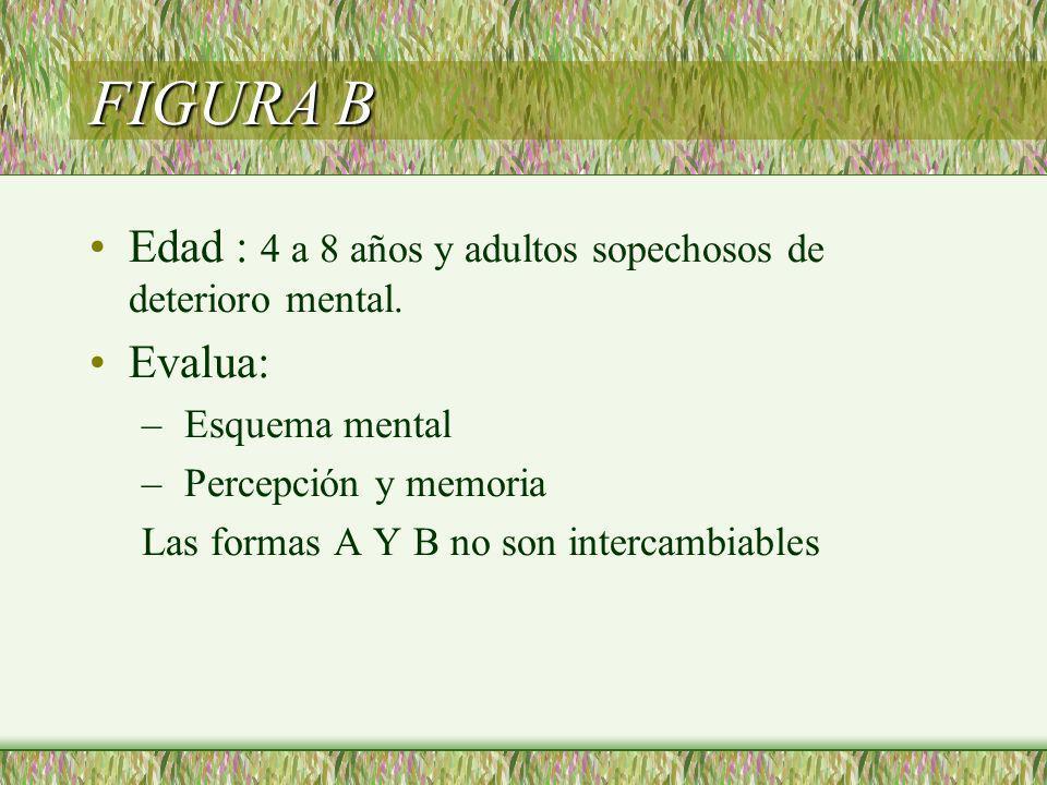 Edad : 4 a 8 años y adultos sopechosos de deterioro mental. Evalua: – Esquema mental – Percepción y memoria Las formas A Y B no son intercambiables