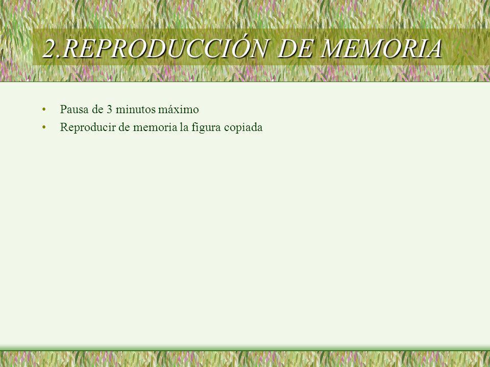 2.REPRODUCCIÓN DE MEMORIA Pausa de 3 minutos máximo Reproducir de memoria la figura copiada