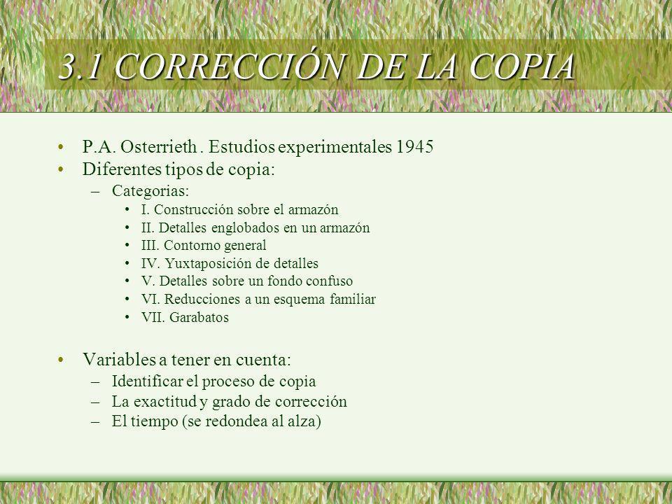 3.1 CORRECCIÓN DE LA COPIA P.A. Osterrieth. Estudios experimentales 1945 Diferentes tipos de copia: –Categorias: I. Construcción sobre el armazón II.