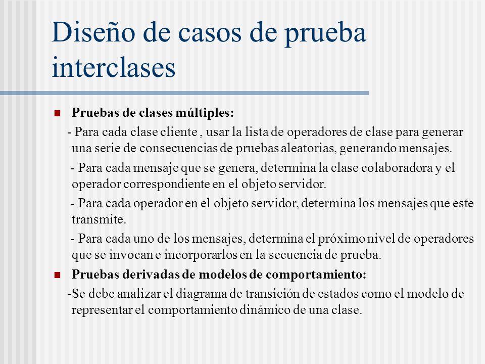 Diseño de casos de prueba interclases Pruebas de clases múltiples: - Para cada clase cliente, usar la lista de operadores de clase para generar una serie de consecuencias de pruebas aleatorias, generando mensajes.