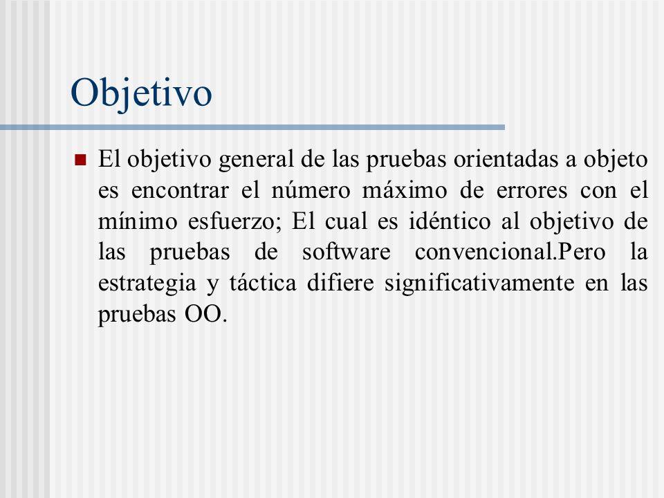 Objetivo El objetivo general de las pruebas orientadas a objeto es encontrar el número máximo de errores con el mínimo esfuerzo; El cual es idéntico al objetivo de las pruebas de software convencional.Pero la estrategia y táctica difiere significativamente en las pruebas OO.
