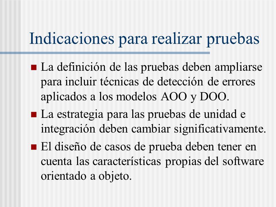 Indicaciones para realizar pruebas La definición de las pruebas deben ampliarse para incluir técnicas de detección de errores aplicados a los modelos AOO y DOO.