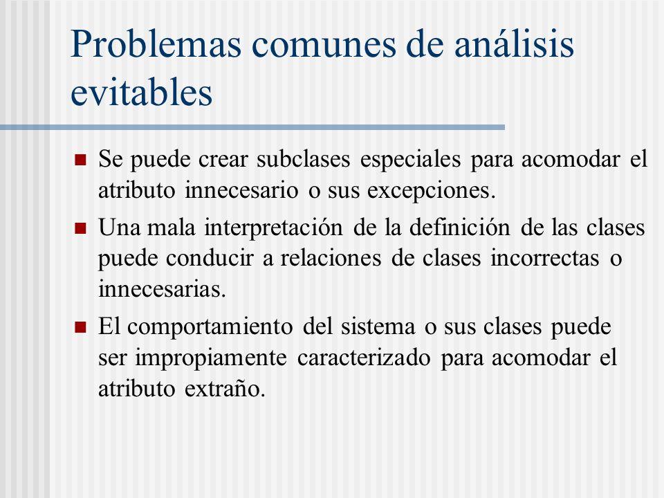 Problemas comunes de análisis evitables Se puede crear subclases especiales para acomodar el atributo innecesario o sus excepciones. Una mala interpre