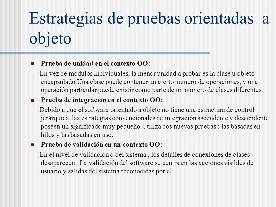 Estrategias de pruebas orientadas a objeto Prueba de unidad en el contexto OO: -En vez de módulos individuales, la menor unidad a probar es la clase u objeto encapsulado.Una clase puede contener un cierto numero de operaciones, y una operación particular puede existir como parte de un número de clases diferentes.