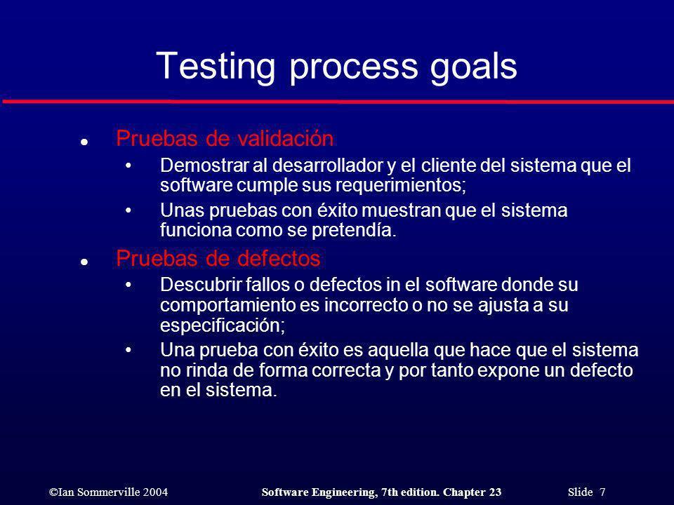 ©Ian Sommerville 2004Software Engineering, 7th edition. Chapter 23 Slide 18 Pruebas de sistemas