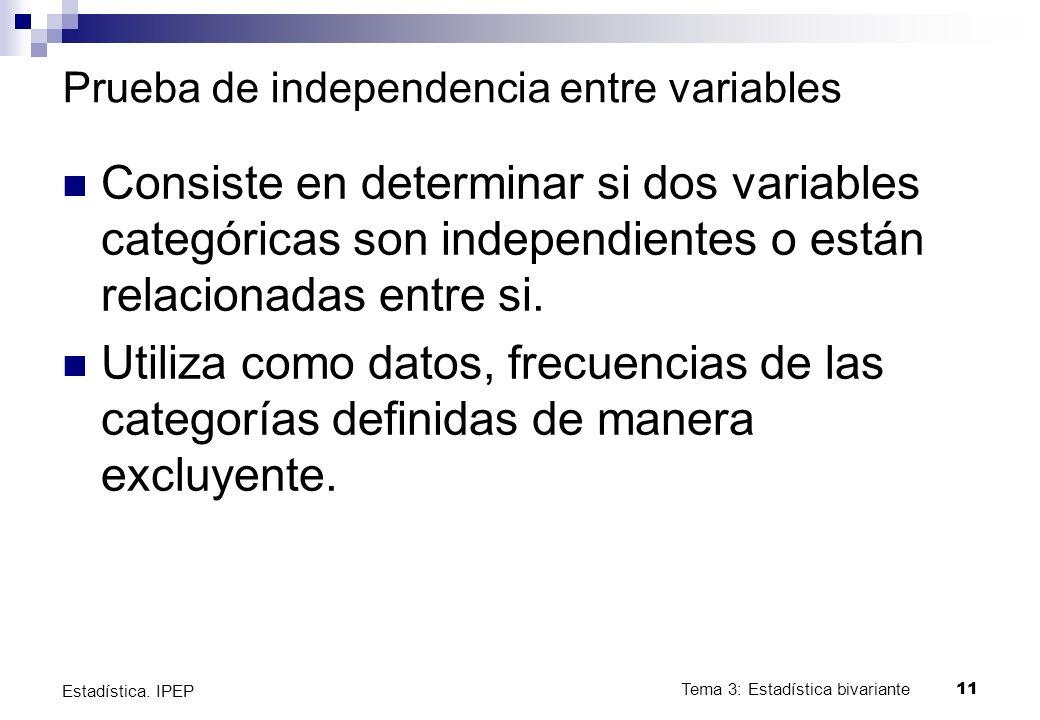 Prueba de independencia entre variables Consiste en determinar si dos variables categóricas son independientes o están relacionadas entre si.