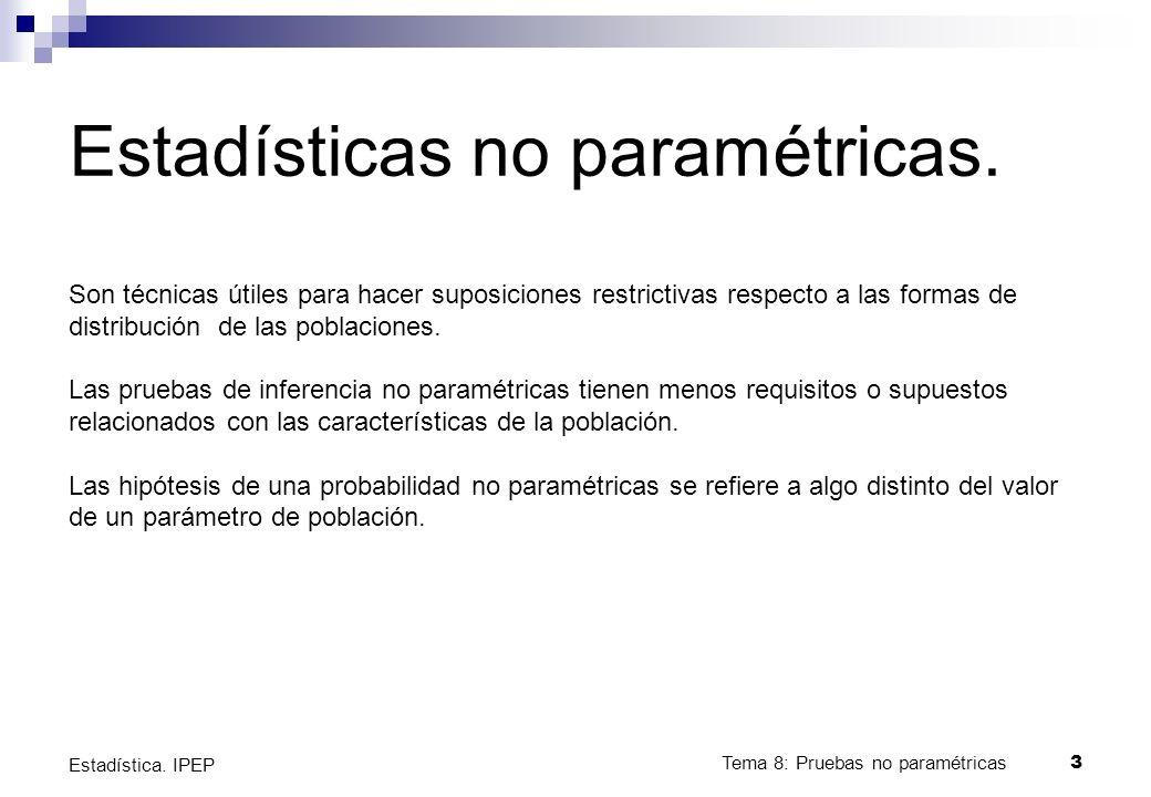 Tema 8: Pruebas no paramétricas4 Estadística.