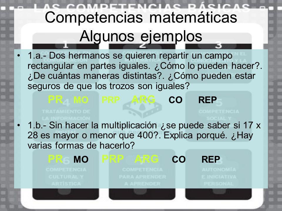 Competencias matemáticas Algunos ejemplos 1.a.- Dos hermanos se quieren repartir un campo rectangular en partes iguales. ¿Cómo lo pueden hacer?. ¿De c