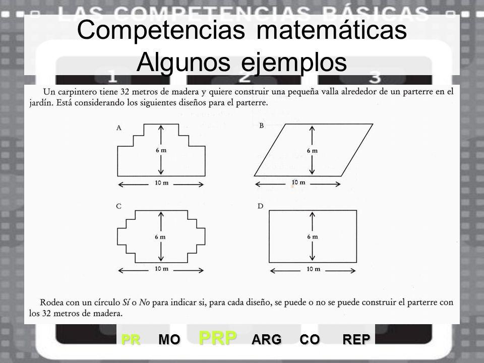 Competencias matemáticas Algunos ejemplos PR MO PRP ARG CO REP