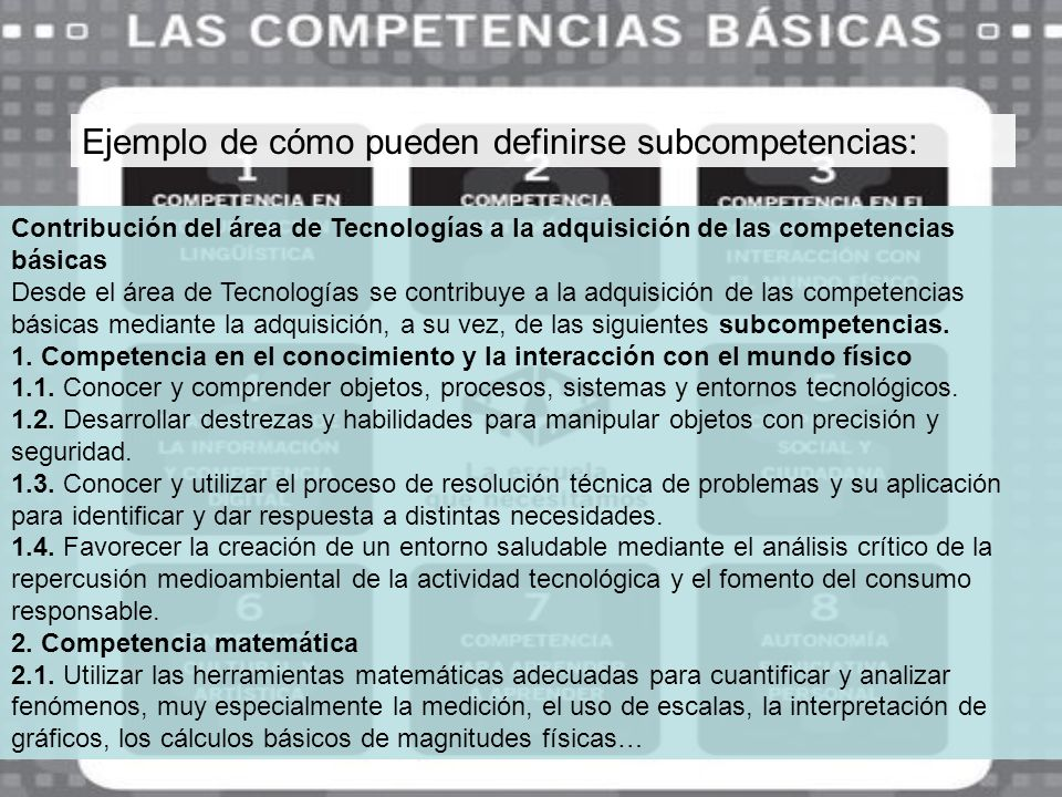 Ejemplo de cómo pueden definirse subcompetencias: Contribución del área de Tecnologías a la adquisición de las competencias básicas Desde el área de T