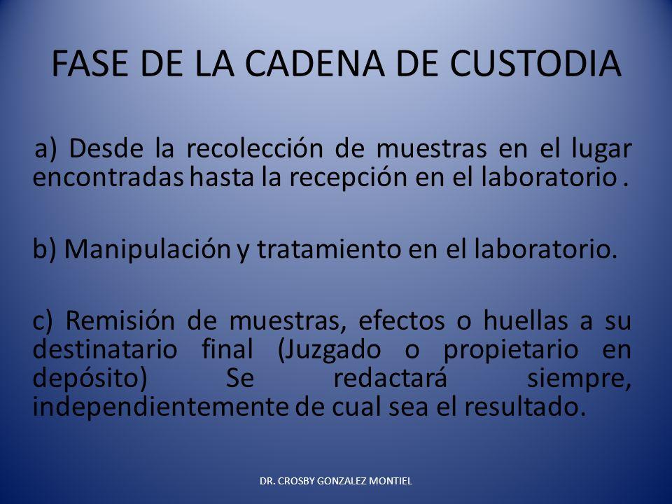 FASE DE LA CADENA DE CUSTODIA a) Desde la recolección de muestras en el lugar encontradas hasta la recepción en el laboratorio. b) Manipulación y trat
