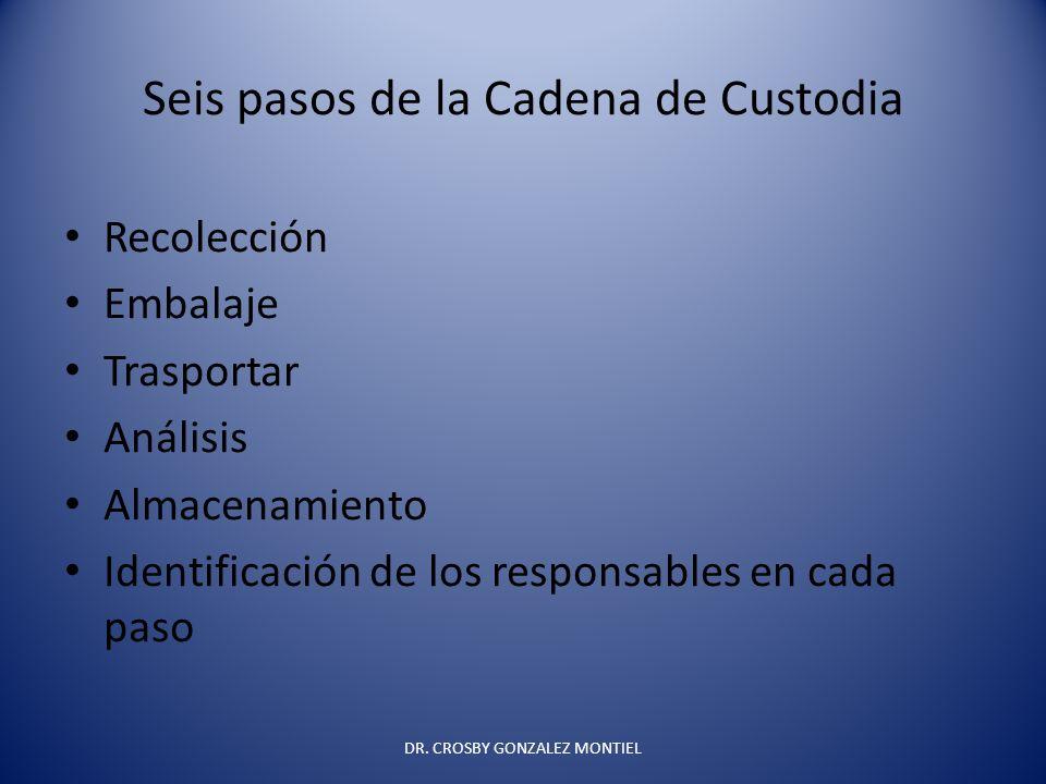 Seis pasos de la Cadena de Custodia Recolección Embalaje Trasportar Análisis Almacenamiento Identificación de los responsables en cada paso DR. CROSBY