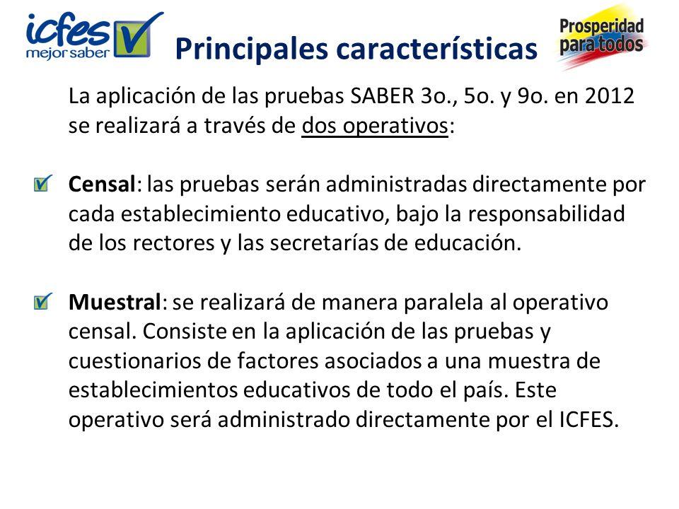 Principales características La aplicación de las pruebas SABER 3o., 5o.