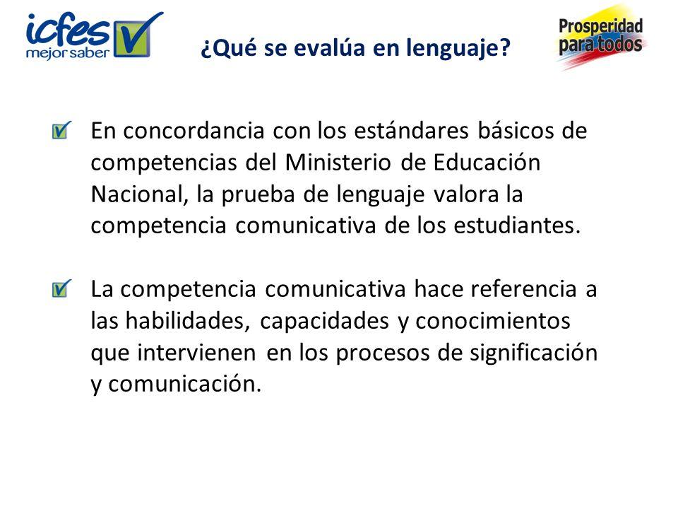 En concordancia con los estándares básicos de competencias del Ministerio de Educación Nacional, la prueba de lenguaje valora la competencia comunicativa de los estudiantes.