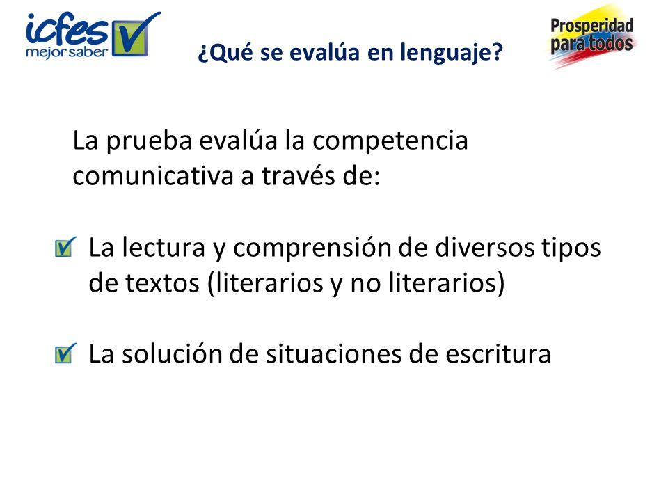 La prueba evalúa la competencia comunicativa a través de: La lectura y comprensión de diversos tipos de textos (literarios y no literarios) La solución de situaciones de escritura ¿Qué se evalúa en lenguaje?