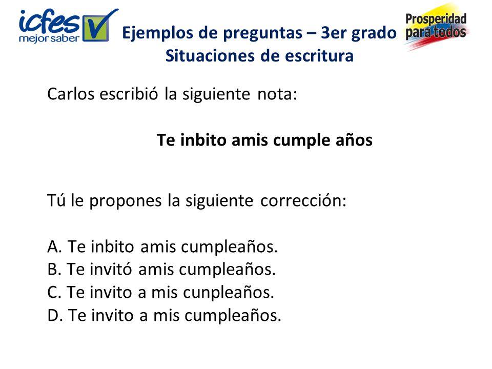 Carlos escribió la siguiente nota: Te inbito amis cumple años Tú le propones la siguiente corrección: A.