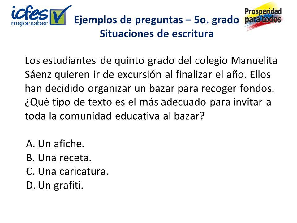 Los estudiantes de quinto grado del colegio Manuelita Sáenz quieren ir de excursión al finalizar el año.