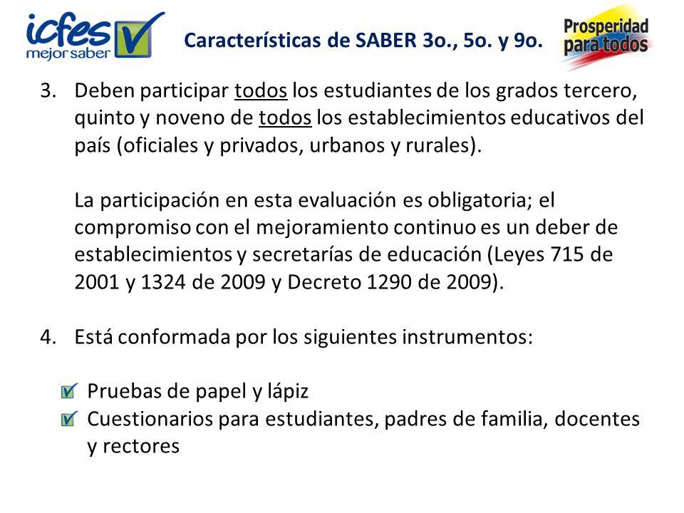 Características de SABER 3o., 5o.y 9o.