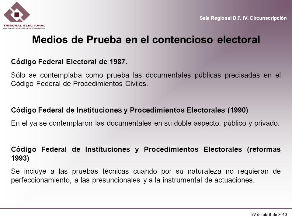 Sala Regional D.F. IV. Circunscripción 22 de abril de 2010 Código Federal Electoral de 1987. Sólo se contemplaba como prueba las documentales públicas