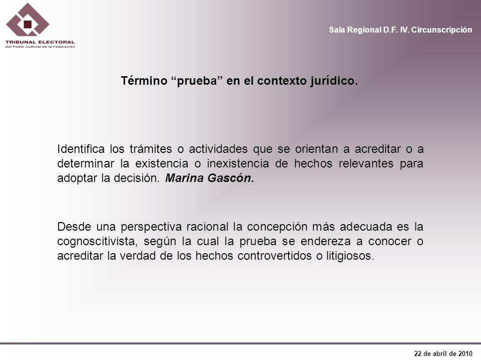 Sala Regional D.F. IV. Circunscripción 22 de abril de 2010 Término prueba en el contexto jurídico. Identifica los trámites o actividades que se orient