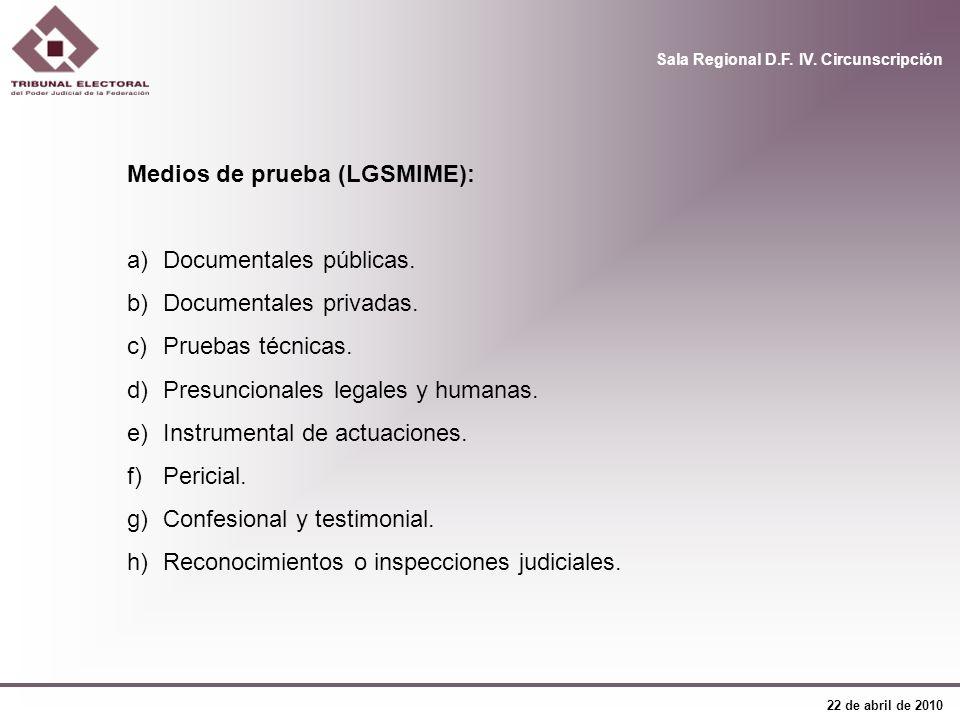 Sala Regional D.F. IV. Circunscripción 22 de abril de 2010 Medios de prueba (LGSMIME): a)Documentales públicas. b)Documentales privadas. c)Pruebas téc