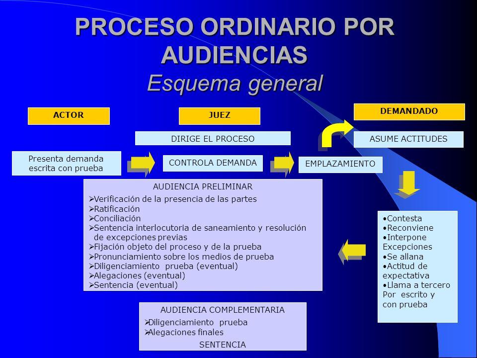 PROCESO ORDINARIO POR AUDIENCIAS Esquema general JUEZACTOR DEMANDADO CONTROLA DEMANDA AUDIENCIA PRELIMINAR Verificación de la presencia de las partes