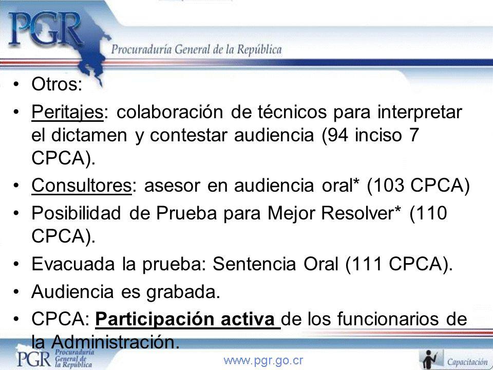 Otros: Peritajes: colaboración de técnicos para interpretar el dictamen y contestar audiencia (94 inciso 7 CPCA). Consultores: asesor en audiencia ora