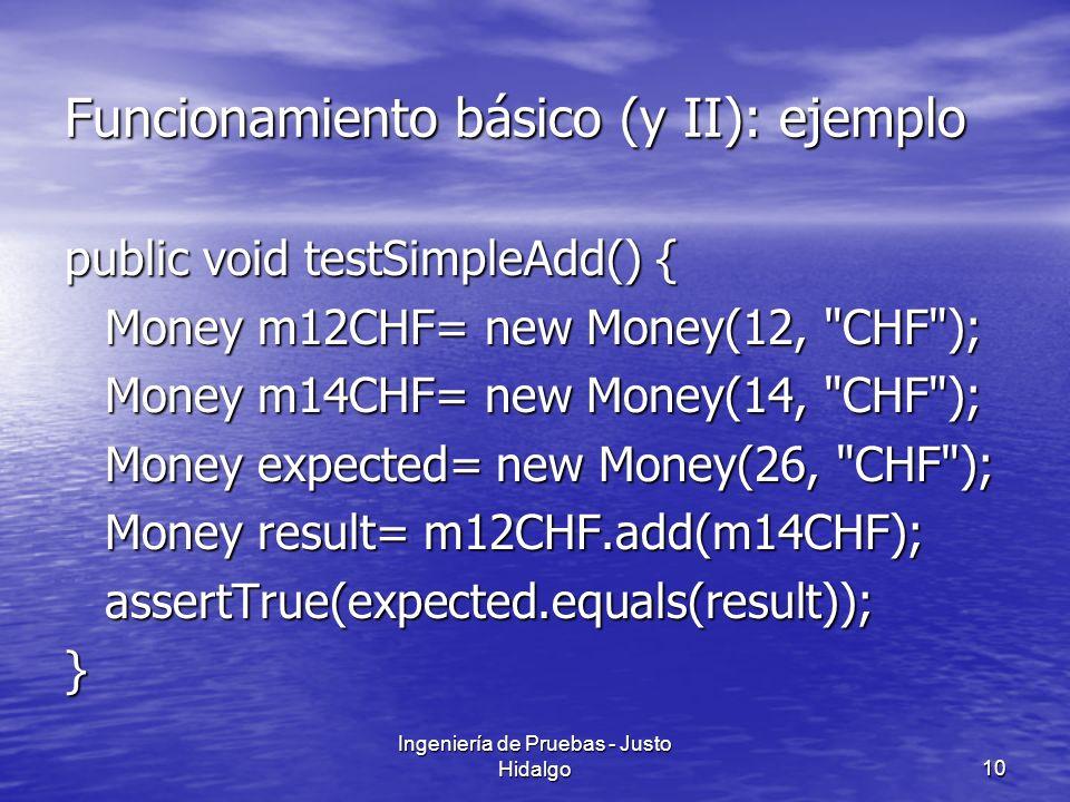 Ingeniería de Pruebas - Justo Hidalgo10 Funcionamiento básico (y II): ejemplo public void testSimpleAdd() { Money m12CHF= new Money(12,