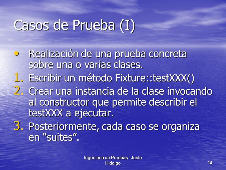 Ingeniería de Pruebas - Justo Hidalgo14 Casos de Prueba (I) Realización de una prueba concreta sobre una o varias clases. Realización de una prueba co