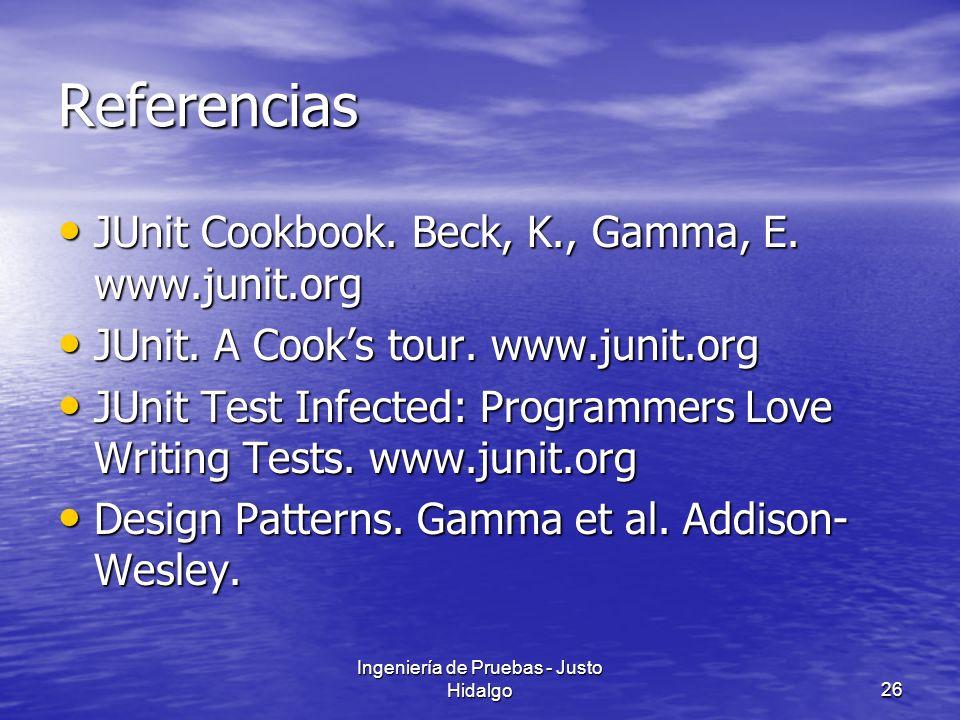 Ingeniería de Pruebas - Justo Hidalgo26 Referencias JUnit Cookbook. Beck, K., Gamma, E. www.junit.org JUnit Cookbook. Beck, K., Gamma, E. www.junit.or