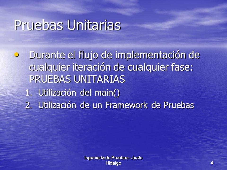 Ingeniería de Pruebas - Justo Hidalgo4 Pruebas Unitarias Durante el flujo de implementación de cualquier iteración de cualquier fase: PRUEBAS UNITARIA
