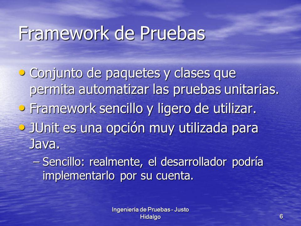 Ingeniería de Pruebas - Justo Hidalgo6 Framework de Pruebas Conjunto de paquetes y clases que permita automatizar las pruebas unitarias. Conjunto de p