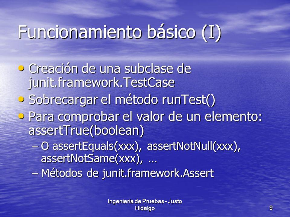 Ingeniería de Pruebas - Justo Hidalgo10 Funcionamiento básico (y II): ejemplo public void testSimpleAdd() { Money m12CHF= new Money(12, CHF ); Money m14CHF= new Money(14, CHF ); Money expected= new Money(26, CHF ); Money result= m12CHF.add(m14CHF); assertTrue(expected.equals(result));}