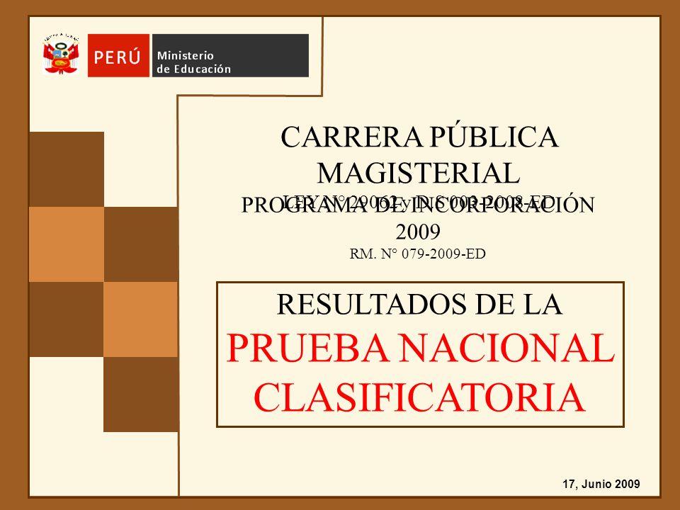 CARRERA PÚBLICA MAGISTERIAL LEY N° 29062 y D.S 003-2008-ED PROGRAMA DE INCORPORACIÓN 2009 RM.