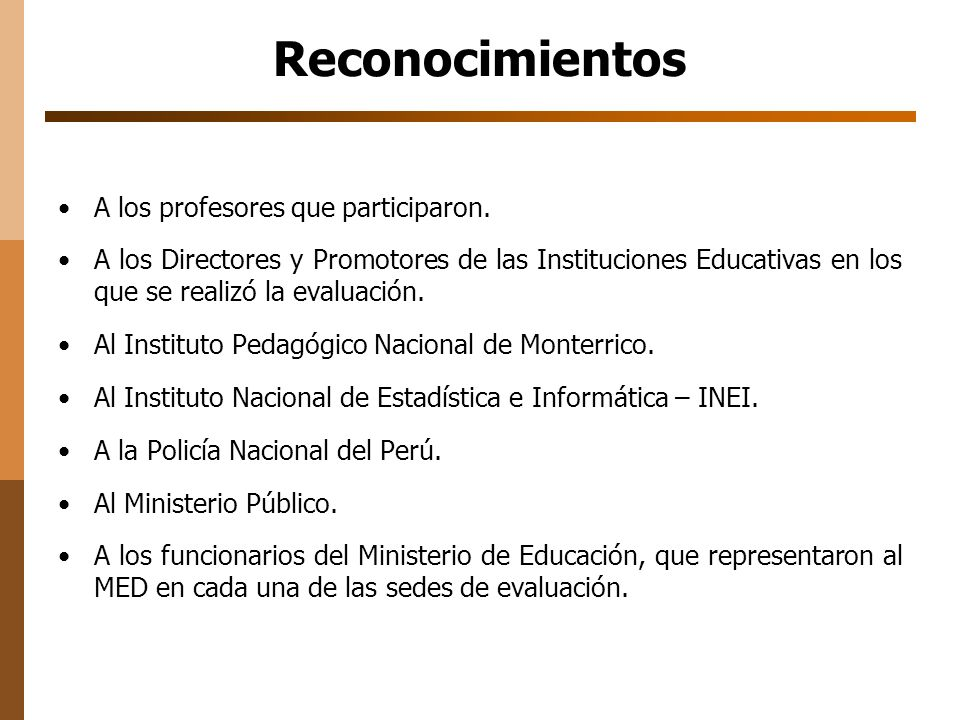Reconocimientos A los profesores que participaron.