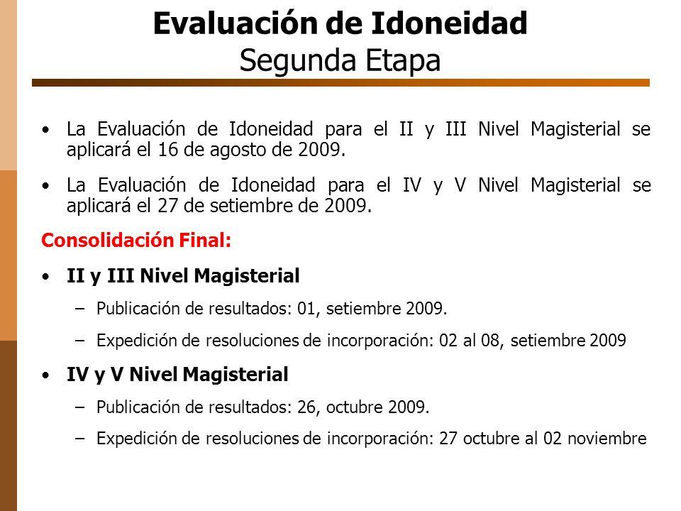 Evaluación de Idoneidad Segunda Etapa La Evaluación de Idoneidad para el II y III Nivel Magisterial se aplicará el 16 de agosto de 2009.