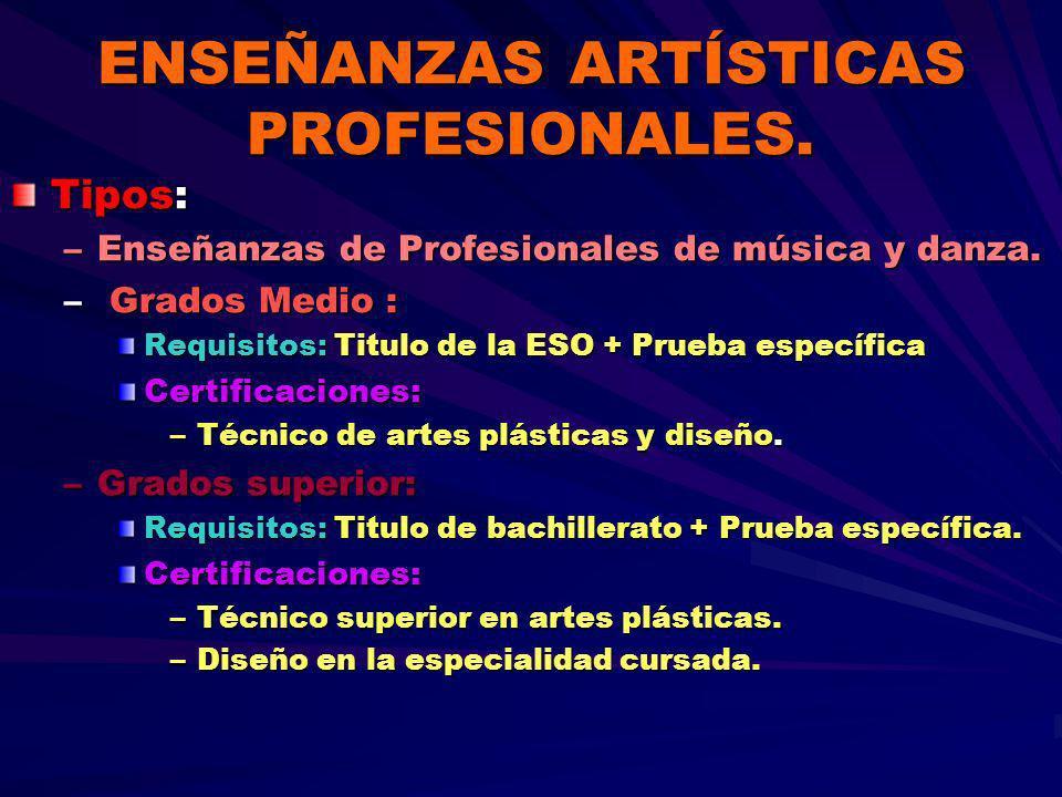 ENSEÑANZAS ARTÍSTICAS PROFESIONALES. Tipos: –Enseñanzas de Profesionales de música y danza. – Grados Medio : Requisitos: Titulo de la ESO + Prueba esp