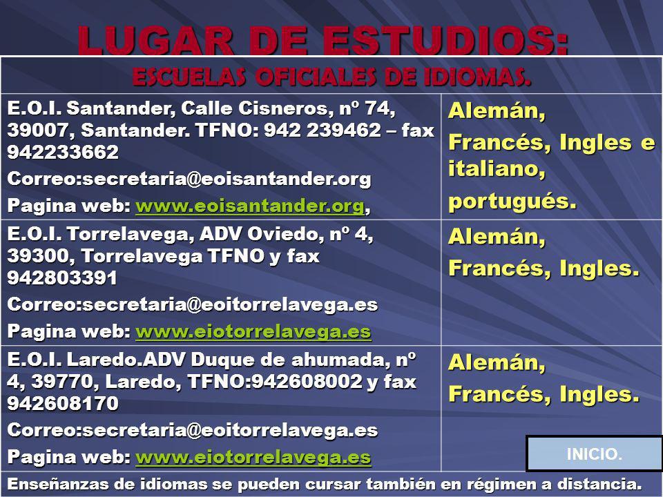 LUGAR DE ESTUDIOS: ESCUELAS OFICIALES DE IDIOMAS. E.O.I. Santander, Calle Cisneros, nº 74, 39007, Santander. TFNO: 942 239462 – fax 942233662 Correo:s