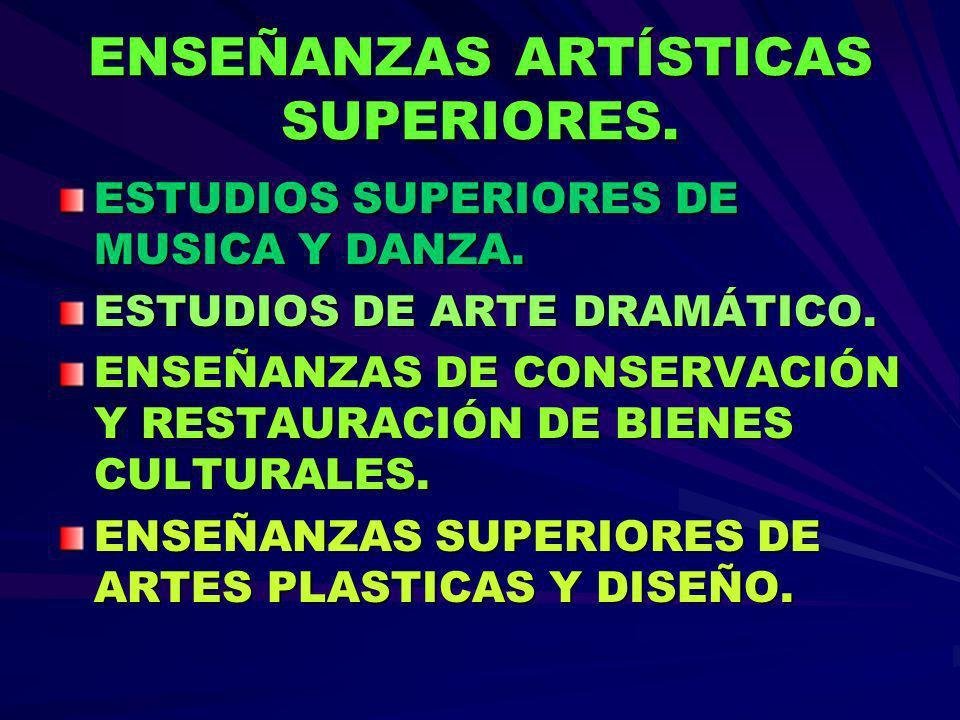 ESTUDIOS SUPERIORES DE MUSICA Y DANZA. ESTUDIOS DE ARTE DRAMÁTICO. ENSEÑANZAS DE CONSERVACIÓN Y RESTAURACIÓN DE BIENES CULTURALES. ENSEÑANZAS SUPERIOR