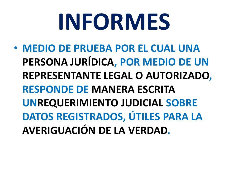 INFORMES MEDIO DE PRUEBA POR EL CUAL UNA PERSONA JURÍDICA, POR MEDIO DE UN REPRESENTANTE LEGAL O AUTORIZADO, RESPONDE DE MANERA ESCRITA UNREQUERIMIENT