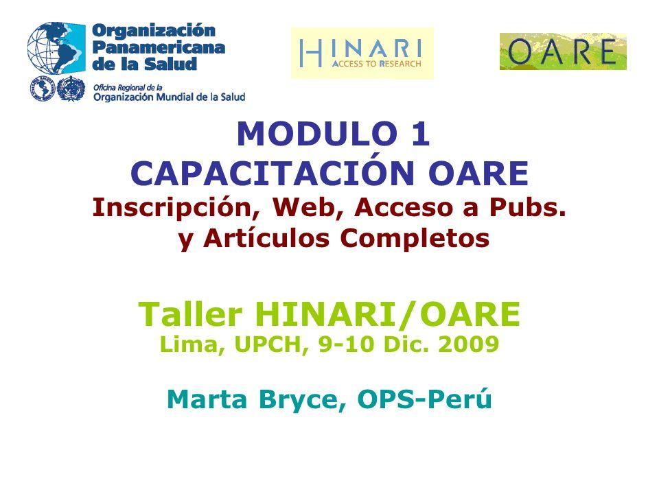 MODULO 1 CAPACITACIÓN OARE Inscripción, Web, Acceso a Pubs.