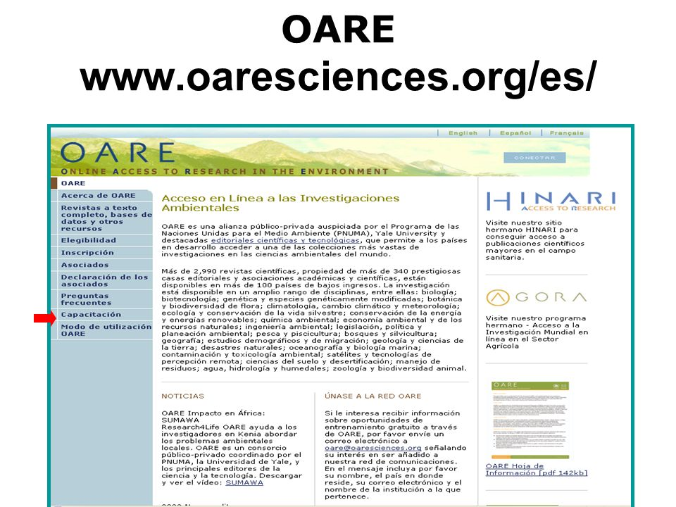 OARE www.oaresciences.org/es/