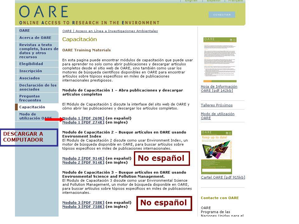 OARE CAPACITACIÓN MODULO 1 6.1 Encontrar revistas por título Ejercicio
