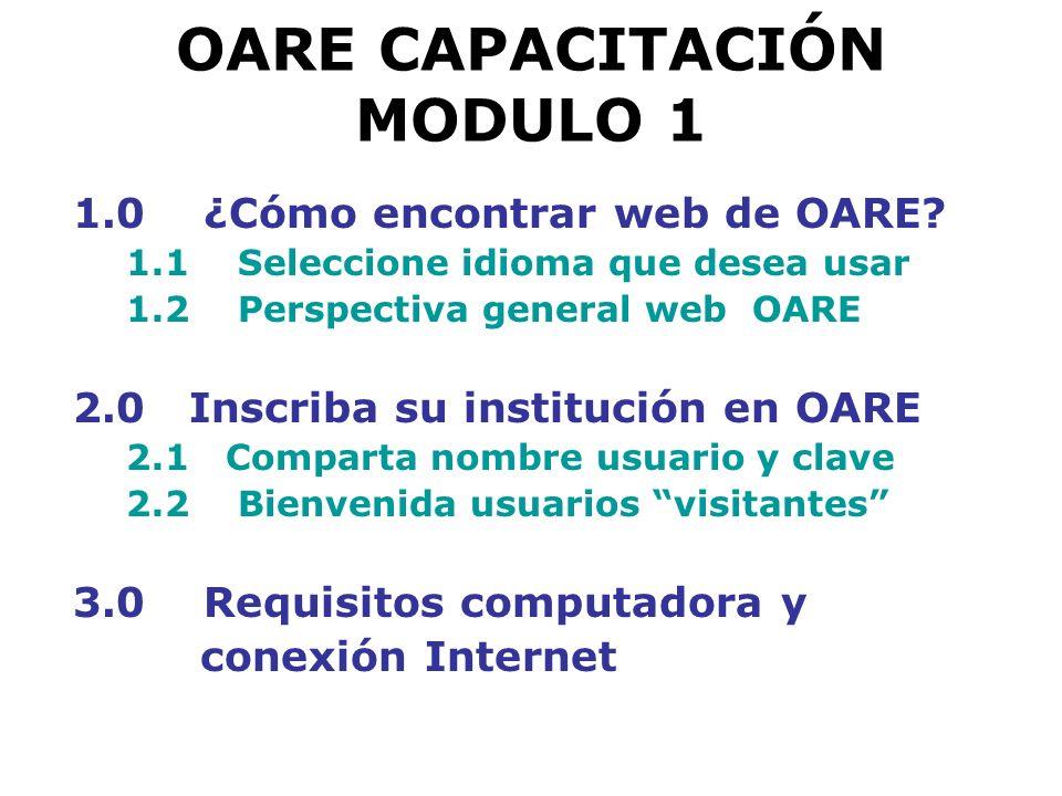OARE CAPACITACIÓN MODULO 1 6.2 Encontrar revistas por tema Ejercicio
