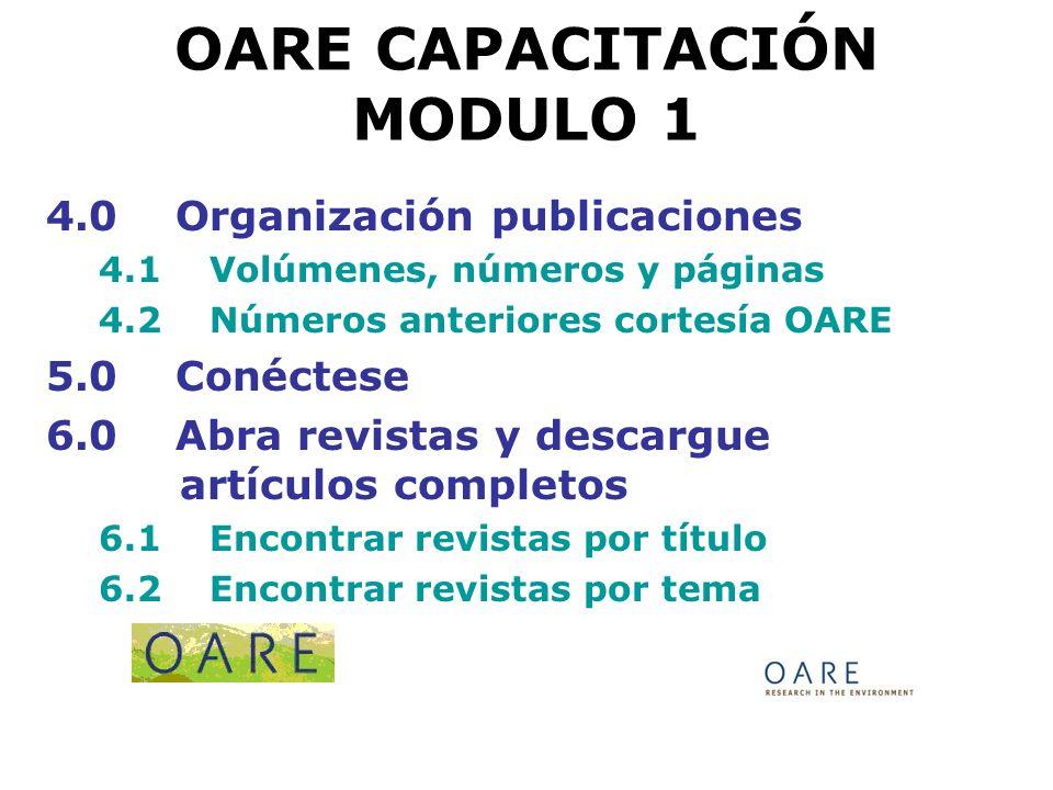 OARE CAPACITACIÓN MODULO 1 6.3 Encontrar revistas por idioma Ejercicio