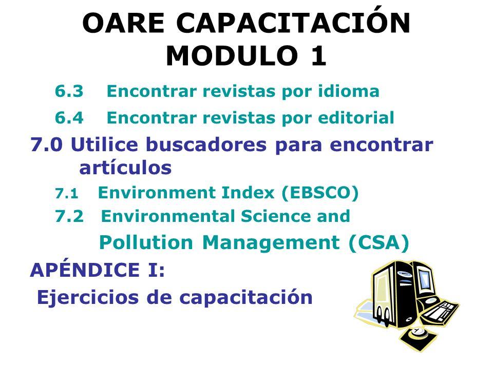 OARE CAPACITACIÓN MODULO 1 6.4 Encontrar revistas por editorial Ejercicio
